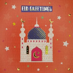 Eid Greetings Card Mosque with Emboss and Gold Foil finish