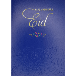 Have a Wonderful Eid Blue Emboss and Gold Foil finish Greeting Card