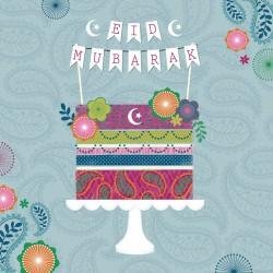 Eid Mubarak Cake Glitter Card