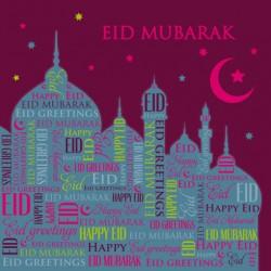 Eid Mubarak Mosque text Glitter finish Greeting Card