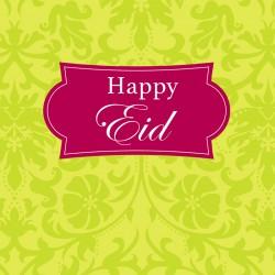 Happy Eid Green and Fushia Pink Glitter finish Greeting Card