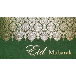 Eid Mubarak Premium Money Wallet Gift Card - Green & Gold