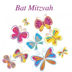 Bat Mitzvah Colourful Glitter Butterflies Greeting Card