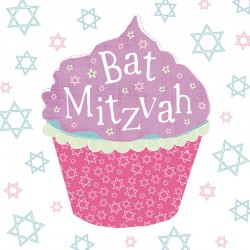 Bat Mitzvah Large Cupcake - Star of David Design Glitter Finish Greeting Card