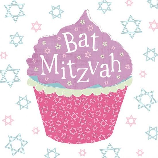 Bat Mitzvah Large Cupcake - Star of David Design Glitter Finish Greeting Card