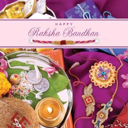 Happy Raksha Bandhan Greeting Card Includes Rakhi