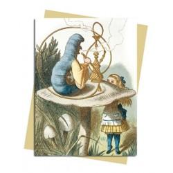 Alice & the Caterpillar 1890 by Sir John Tenniel Premium Foil Finish Blank Greeting Card