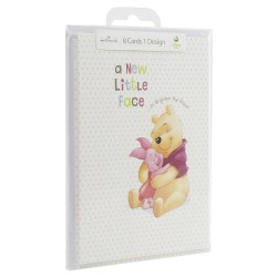 Hallmark Disney Winnie The Pooh Birth Announcements 'New Little Face' - Pack of 8 Cards