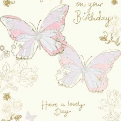 To My Wife Happy Birthday With Love Greeting Card Butterflies with Glitter Foil Finish (MM0176)