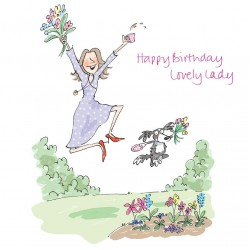Happy Birthday Lovely Lady with tea cup, flowes & Dog Greeting Card