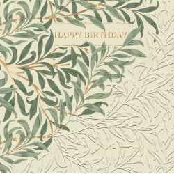 Willow Bough by William Morris - Morris & Co - BLANK Happy Birthday Card - Ling Design (IJ0034) Green Leaves