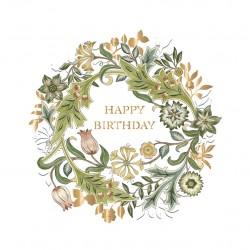 Wilhelmina by William Morris - Morris & Co - Happy Birthday BLANK Card - Ling Design (IJ0035) Vintage Botanical Floral Wreath
