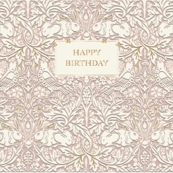 Brer Rabbit Pink by William Morris - Morris & Co - Happy Birthday BLANK Card - Ling Design (IJ0036) Birds Rabbit Hare