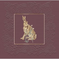 Hare from The Forest by William Morris - Morris & Co -Burgundy BLANK Card - Ling Design (IJ0042) Rabbit Hare Flowers
