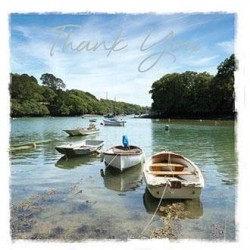 Boats on The Helford River Cornwall Thank You Notecards Luxury Foil finish Pack of 5 Cards and Envelopes