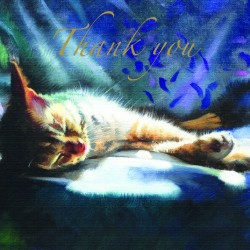 Sleeping Cat Thank You Notecards Luxury Foil finish Pack of 5 Cards and Envelopes