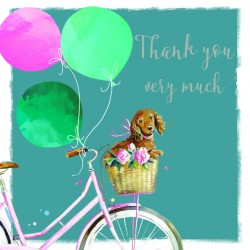 Pretty Bike Spaniel Puppy and Balloons Thank You Notecards Luxury Foil finish Pack of 5 Cards and Envelopes
