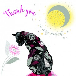 Black Cat on Cushion Moon Thank You Notecards Luxury Foil finish Pack of 5 Cards and Envelopes