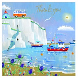Perfect View White Cliffs Thank You Notecards Luxury Foil finish Pack of 5 Cards and Envelopes