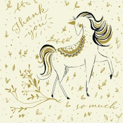 Magical Birthday Unicorn Thank You Notecards Luxury Foil finish Pack of 5 Cards and Envelopes
