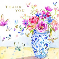 Butterflies and Blue China Thank You Notecards Luxury Foil finish Pack of 5 Cards and Envelopes