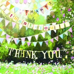 Garden Bunting Thank You Notecards Luxury Foil finish Pack of 5 Cards and Envelopes