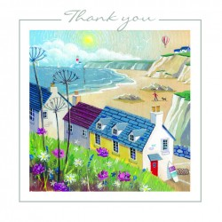 House By The Sea Thank You Notecards Luxury Foil finish Pack of 5 Cards and Envelopes