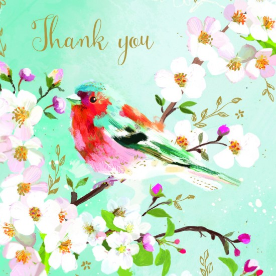 Chaffinch on a Branch Thank You BLANK Notecards Luxury Foil finish Pack of 5 Cards and Envelopes