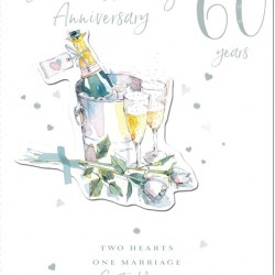 60th Diamond Anniversary Sixty Years Greeting Card 3D Foil Finish (PA229)
