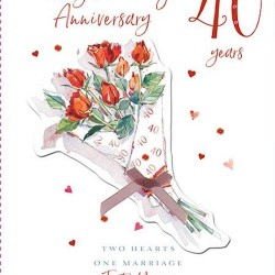 40th Ruby Anniversary Forty Years Greeting Card 3D Foil Finish (PA231)