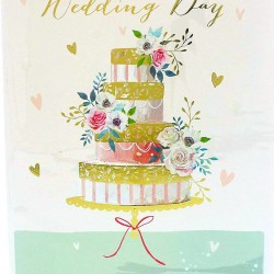 On Your Wedding Day Greeting Card Cake with Foil Finish (PW239