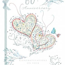 60th Diamond Anniversary Sixty Years Greeting Card 3D Hearts Foil Finish (TA110)