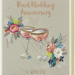 30th Pearl Anniversary Thirty Wonderful Years Greeting Card Foil Finish (JA341)