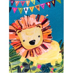 Happy Birthday Lion - Fun Colourful Neon Children's Blank Greeting Card - Emboss & Foil - Hoopla by Paper Salad (HL1922)