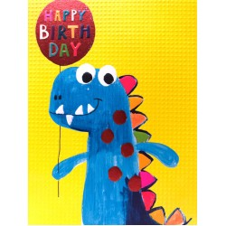 Happy Birthday Dinosaur - Fun Colourful Neon Children's Blank Greeting Card - Emboss & Foil - Hoopla by Paper Salad (HL1923)