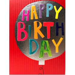 Happy Birthday Balloon - Fun Colourful Neon Children's Blank Greeting Card - Emboss & Foil - Hoopla by Paper Salad (HL1924)