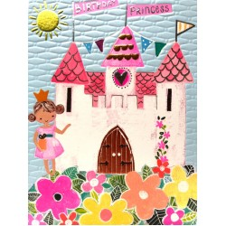 Birthday Princess Castle - Fun Colourful Neon Children's Blank Greeting Card - Emboss & Foil - Hoopla by Paper Salad (HL1928)