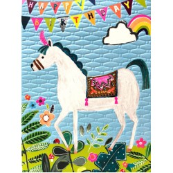 Happy Birthday Horse - Fun Colourful Neon Children's Blank Greeting Card - Emboss & Foil - Hoopla by Paper Salad (HL1931)