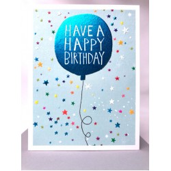 Blue Balloon Have A Happy Birthday Blank Greeting Card - Emboss & Foil - Jamboree by Paper Salad (JA1877)