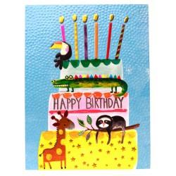 Animal Cake Happy Birthday - Toucan, Giraffe, Sloth, Crocodile Blank Greeting Card - Emboss & Foil - Jamboree by Paper Salad (JA1887)