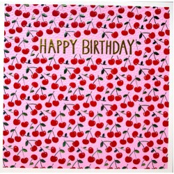 Cherries Happy Birthday Blank Greeting Card- Emboss & Foil - Jumbo Jamboree by Paper Salad (JJ1875)
