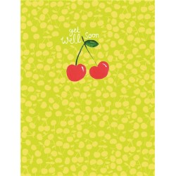 Get Well Soon Cherries Blank Greeting Card - Emboss & Foil - Pixie by Paper Salad (PX1910)