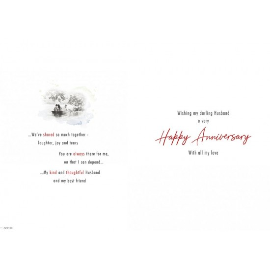 Wonderful Husband on Our Anniversary Sentimental Greeting Card By Piccadilly