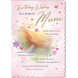 Birthday Wishes for a Wonderful Mum Sentimental Greeting Card By Piccadilly