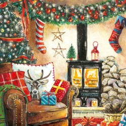 Cosy Log Fireplace Festive Art Finish Xmas Charity Christmas Cards Pack (6 Cards,1 Design)
