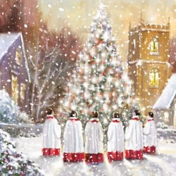 Church Choir Singing in Snow Art Finish Xmas Charity Happy Christmas Cards Pack (6 Cards,1 Design)