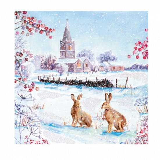 Churchyard Hare Rabbit in Snow Art Glitter Finish Xmas Charity Christmas & New Year Cards Pack (6 Cards,1 Design)