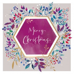 Hexagon Wreath Berries Watercolour Art Foil Finish Xmas Charity Christmas & New Year Cards Pack (6 Cards,1 Design)
