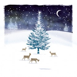 Woodland Forest Reindeer Doe in Snow Art Foil Finish Xmas Charity Christmas & New Year Cards Pack (6 Cards,1 Design)