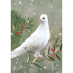 Dove On Olive Branch Religious Luxury Foil Art Xmas BHF Charity Christmas Pack (5 Cards,1 Design)